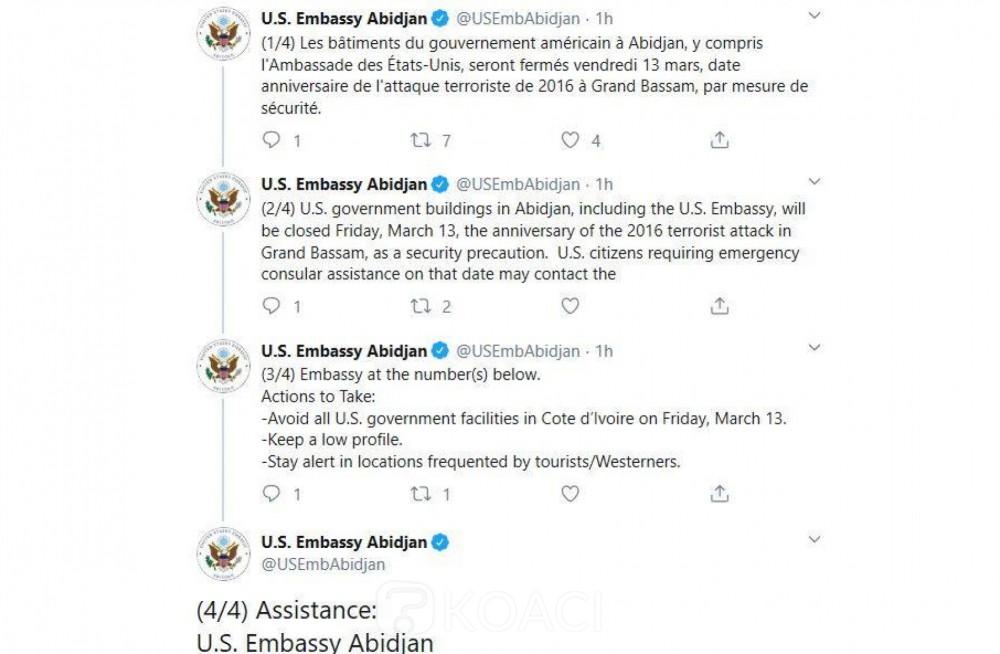 Coopération: l'ambassade des USA à Abidjan fermée vendredi. La raison