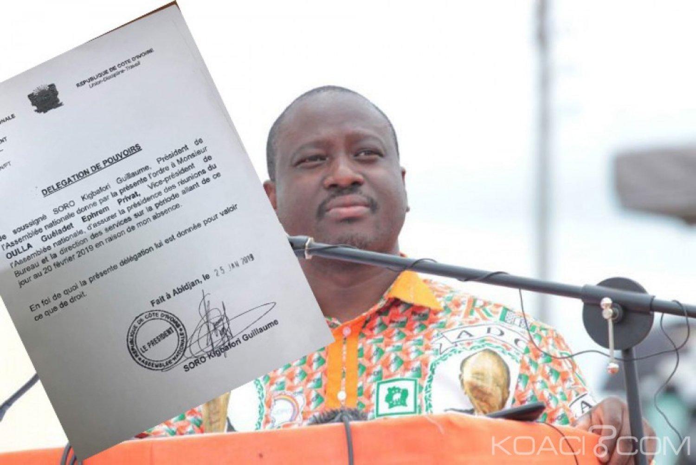 Côte d'Ivoire : Soro s'absente jusqu'au 20 février et délègue ses pouvoirs au député Oula
