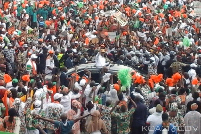 Côte d'Ivoire : Premier congrès ordinaire du RHDP, entrée triomphale de Ouattara et son épouse au stade Houphouët-Boigny