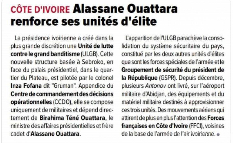Côte d'Ivoire : «Affaire création d'une unité aux ordres du frère de Ouattara», l'armée dénonce une publication à caractère tendancieux d'un media français