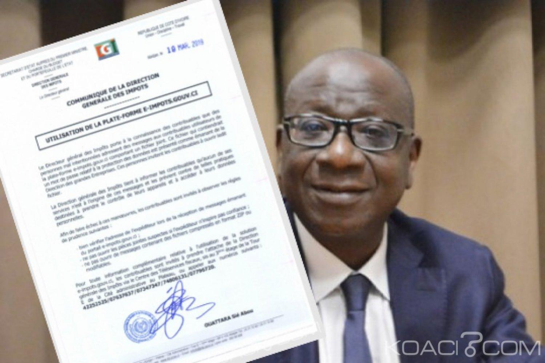 Côte d'Ivoire : Messages adressés aux contribuables utilisateurs de la plate-forme e-impots.gouv.ci, la DGI alerte sur un piratage