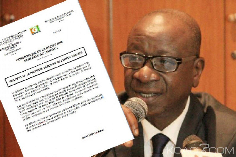 Côte d'Ivoire : La première fraction de l'impôt foncier dû au titre de l'année 2019, fixée au 15 mars expire le 31 mars
