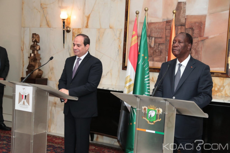 Côte d'Ivoire-Egypte : Après un entretien avec Al Sisi, Ouattara déplore la faiblesse du  volume des échanges entre le Caire et Abidjan