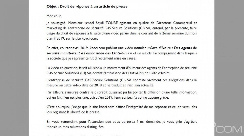 Côte d'Ivoire : Droit de réponse de G4S