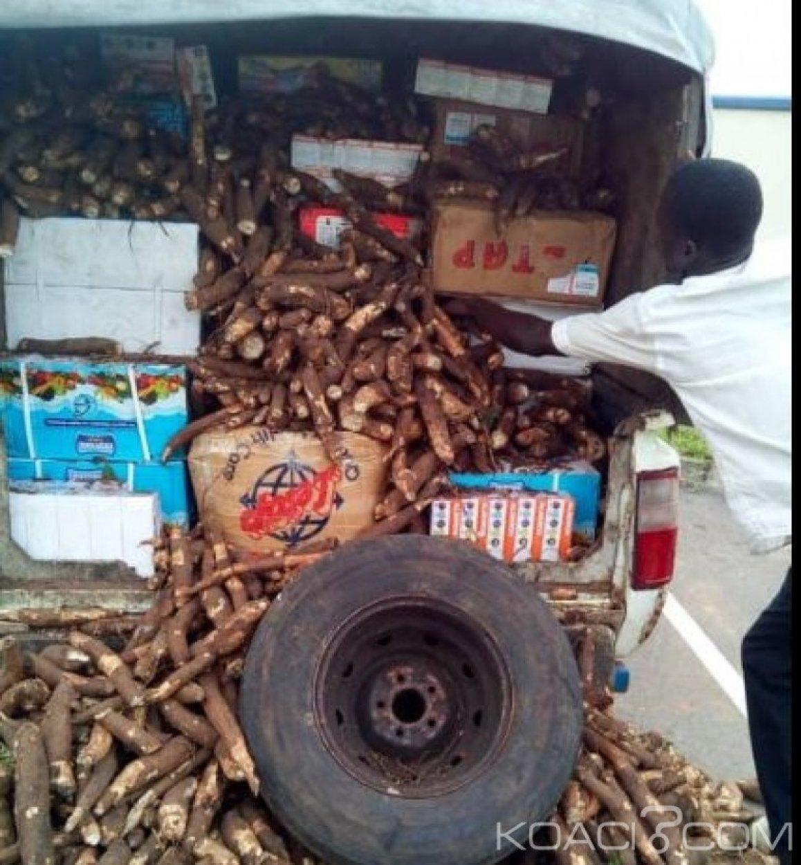 Côte d'Ivoire : Des cartons de médicaments de qualité inférieure dissimulés dans un véhicule transportant du manioc