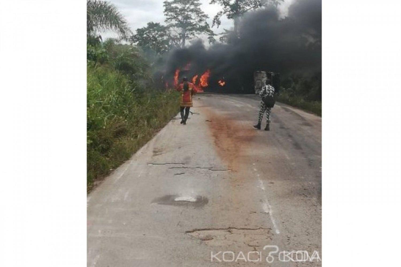 Côte d'Ivoire: Un camion-citerne prend feu et «coupe» la voie Gagnoa-Lakota