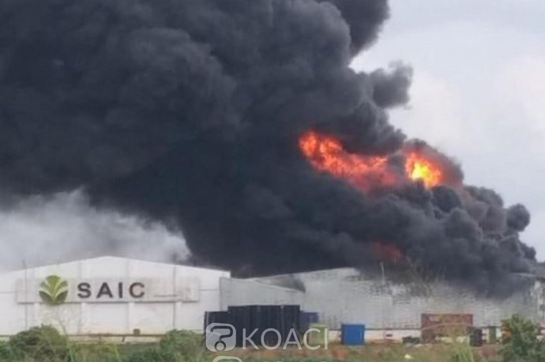 Côte d'Ivoire : A Abengourou, une usine de transformation du caoutchouc en feu, d'importants dégâts