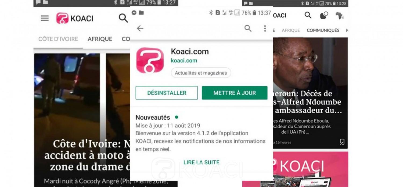 Message aux utilisateurs, mettez à jour votre appli KOACI sur play store et app store