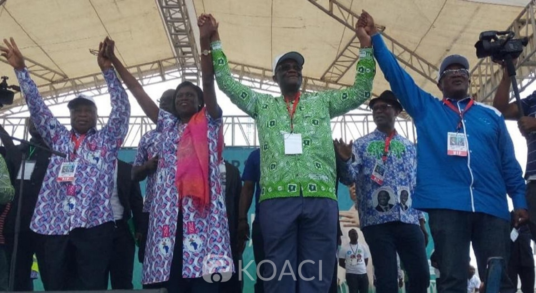 Côte d'Ivoire: Meeting PDCI-FPI, Simone, Guikahué,Assoa Adou et Armand Ouégnin main dans la main pour prôner la réconciliation, une fine pluie qui n'altère pas la détermination des militants