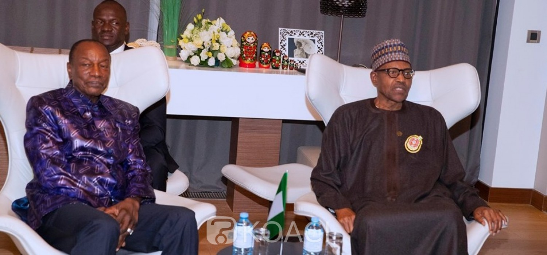 Nigeria-Guinée: Echanges entre Buhari et Condé en Russie