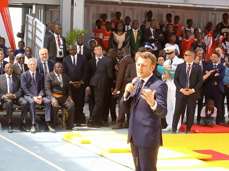 Côte d'Ivoire:  Koumassi, inauguration de l'Agora, comme à Ouaga il y a deux ans, Macron pour le changement de la relation entre la France et l'Afrique