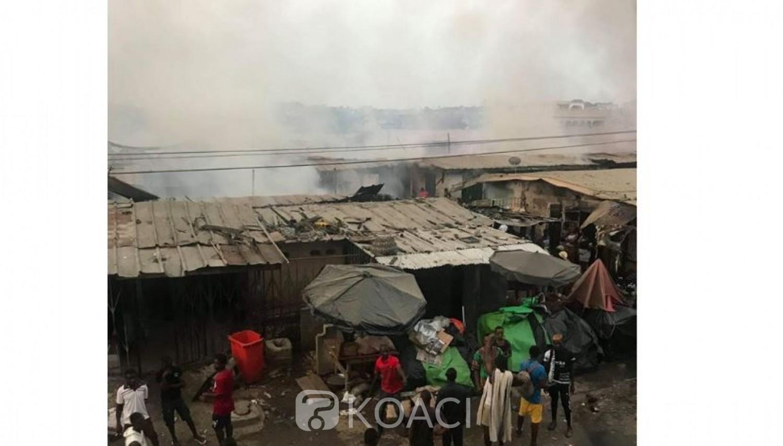Côte d'Ivoire: Le marché de Cocody-Palmeraie ravagé par un incendie, plusieurs étalages et magasins en fumée