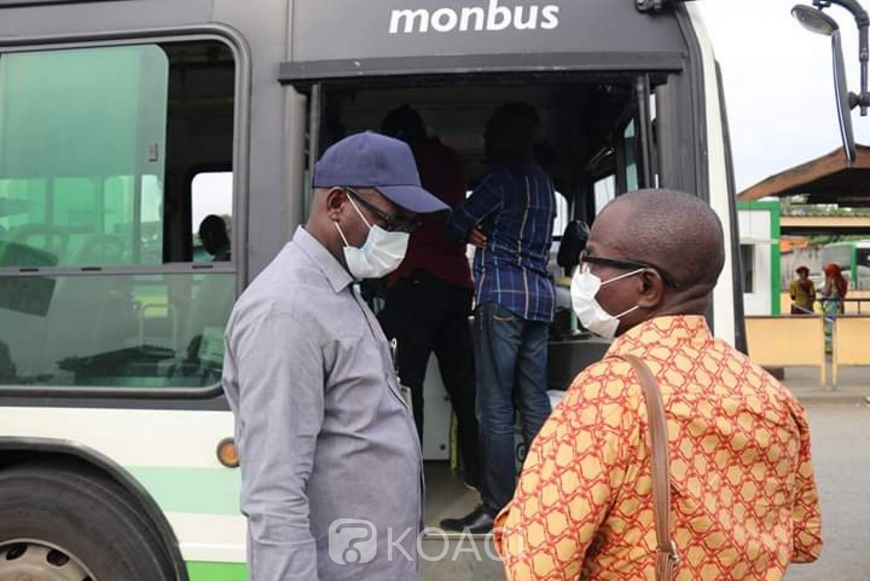 Côte d'Ivoire :  SOTRA, le port du masque est désormais obligatoire dans les gares, autobus, bateaux jusqu'à la destination finale