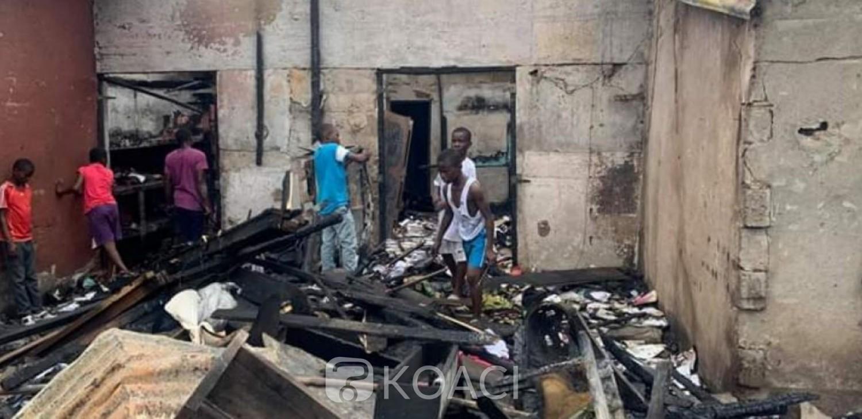 Côte d'Ivoire : Un incendie ravage le marché de Dimbokro, des magasins partent en fumée