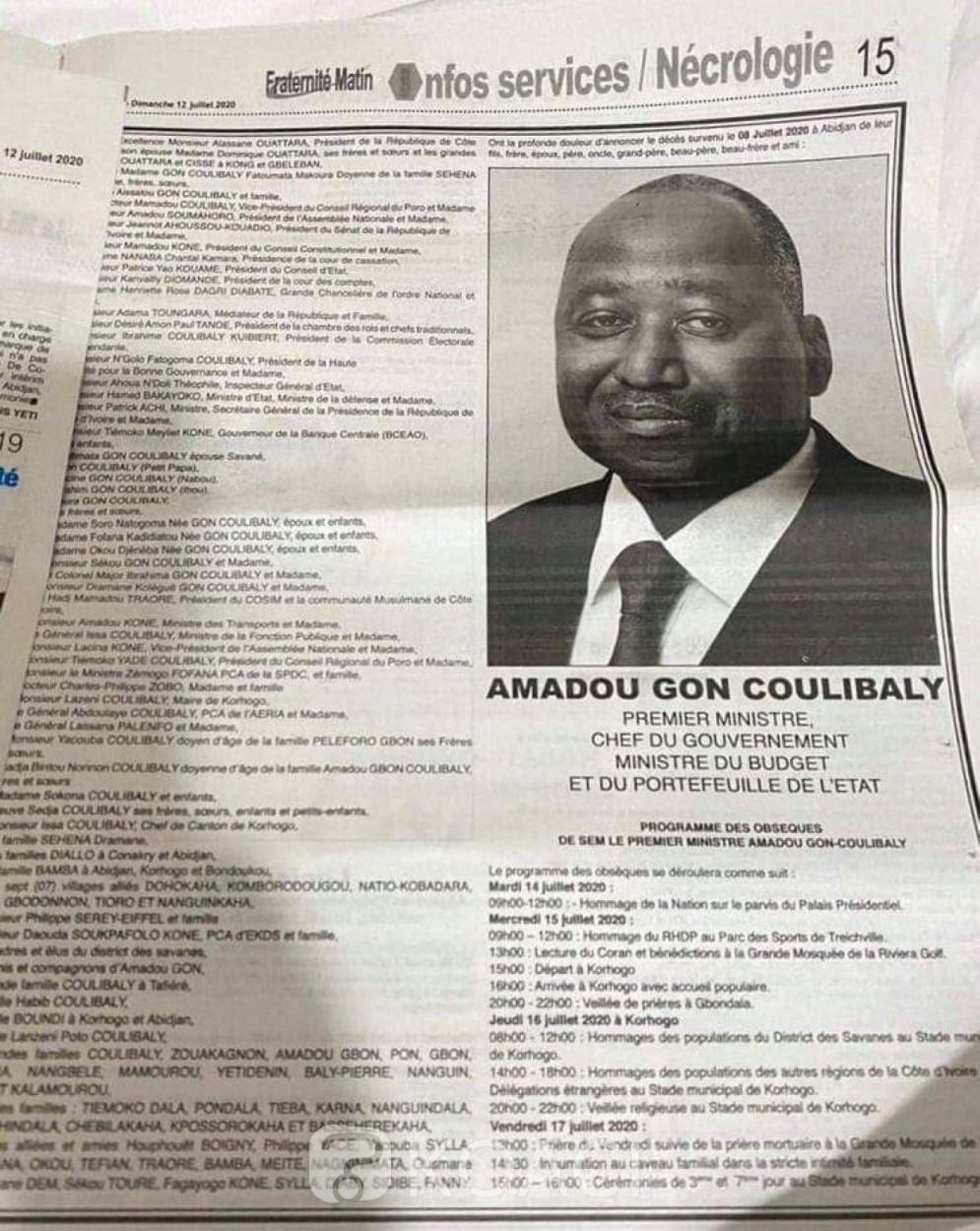 Côte d'Ivoire : Pendant qu'on annonce sa démission, le nom du Vice-président ne figure pas sur le «faire part » du décès de Amadou Gon Coulibaly