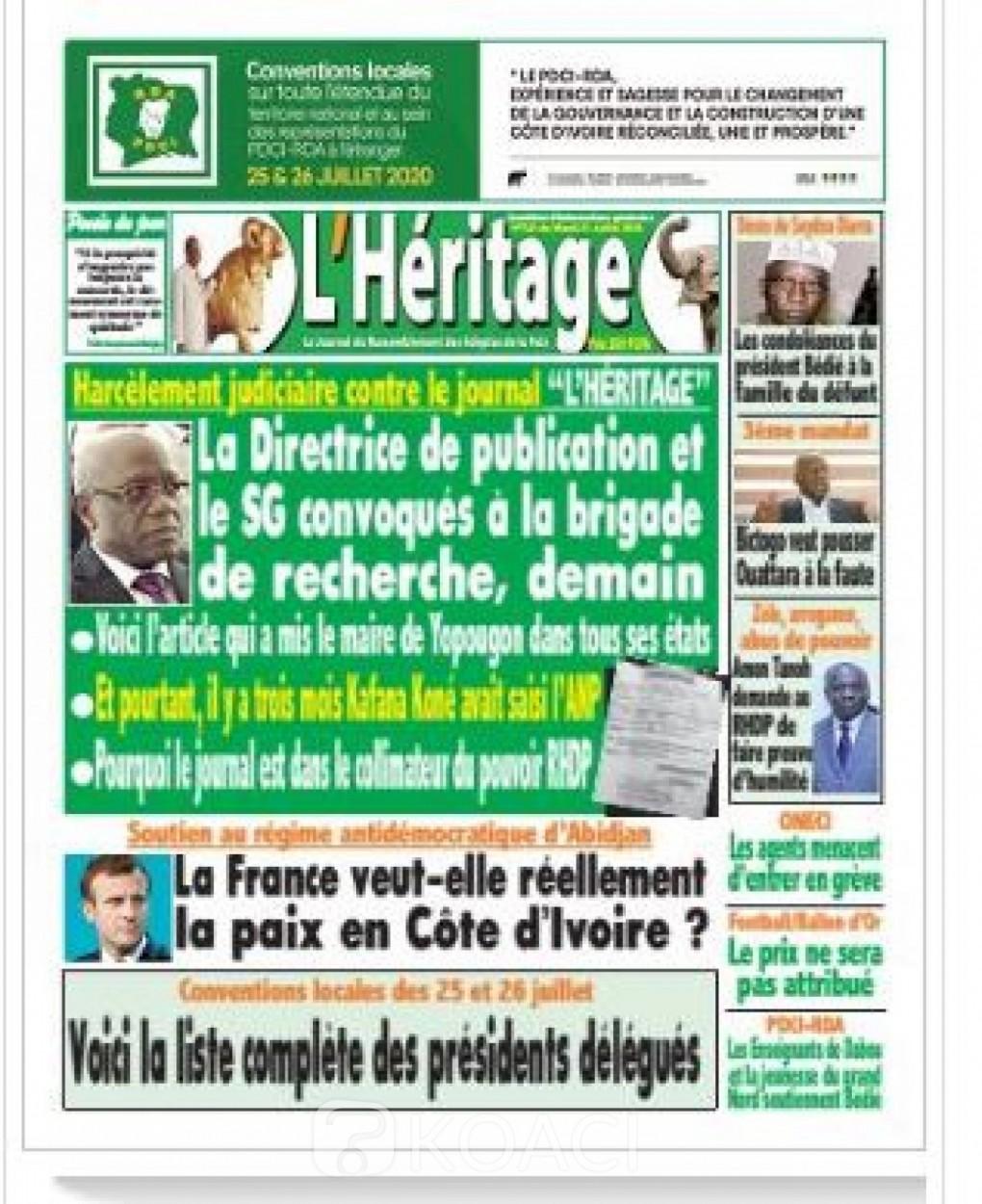 Cote d'Ivoire : Un DP et son journaliste d'un media pro-PDCI, convoqués à la Brigade de recherche  pour « enquêtes judiciaires »