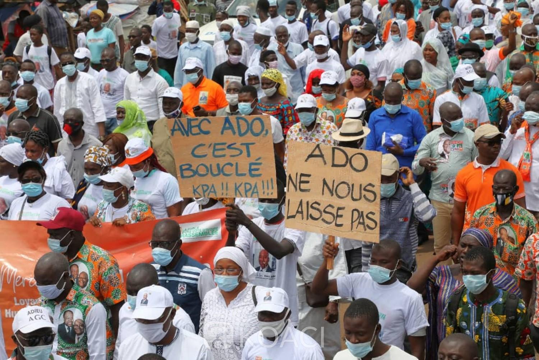 Côte d'Ivoire : Daloa, les militants du Rhdp du Haut sassandra marchent pour réclamer Alassane Ouattara