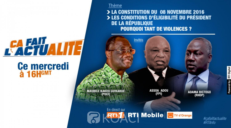 Côte d'Ivoire : 2020, opposition et parti au pouvoir face à face pour un débat télévisé ce jour sur la première chaîne