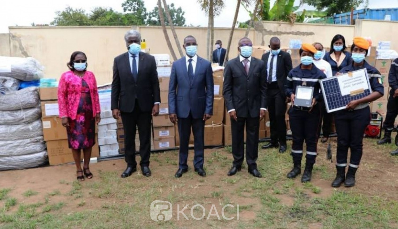Côte d'Ivoire, Le District d'Abidjan fait un don de 100 millions de matériels aux pompiers civils, la gratitude du  Ministre Vagondo Diomandé