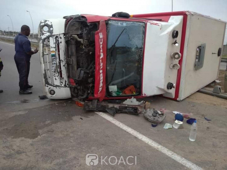 Côte d'Ivoire : A Port-Bouêt, une ambulance transportant un malade fait une sortie de route après un tonneau, 4 victimes