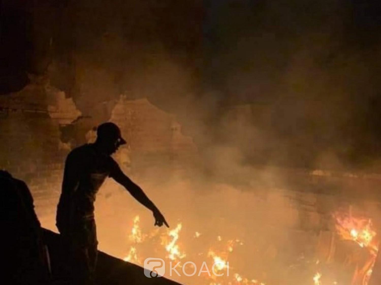 Côte d'Ivoire : Un grave incendie se déclenche à Koumassi, le véhicule d'intervention du GSPM attaqué par une foule de badauds
