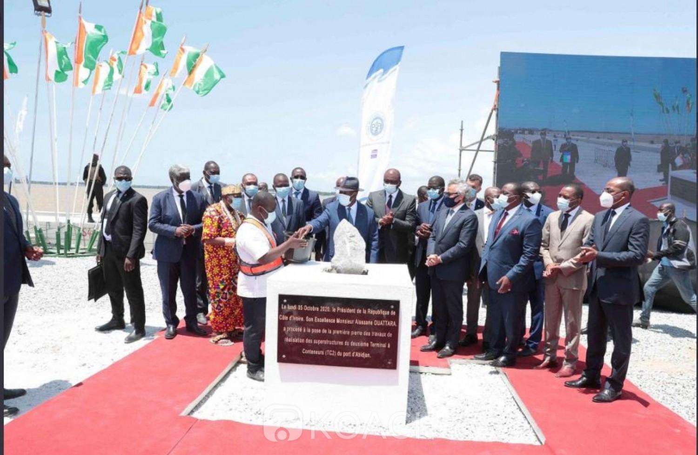 Côte d'Ivoire : Pose de la première pierre des superstructures du deuxième terminal à conteneurs, 450 emplois directs annoncés au Port d'Abidjan