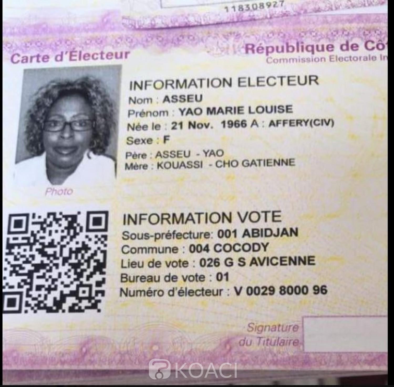 Côte d'Ivoire : La carte d'électeur de feue Marie Louise Asseu qui crée une polémique « inutile »