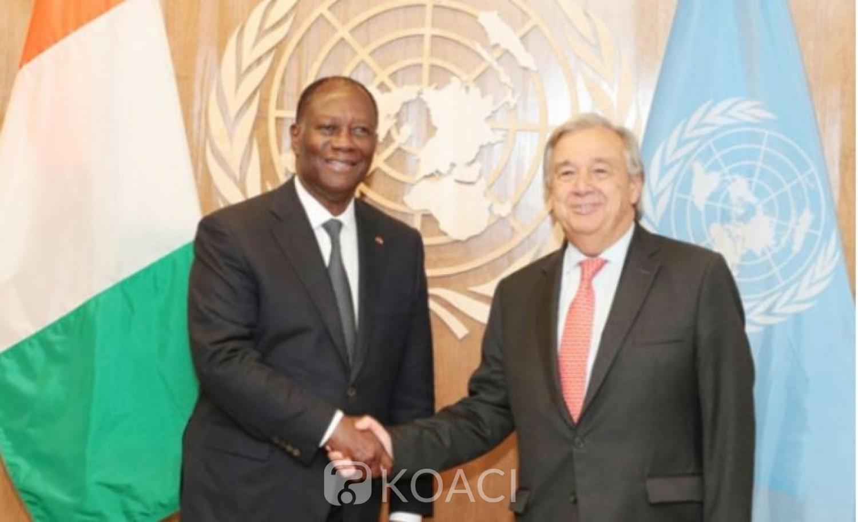Côte d'Ivoire : Le secrétaire général de l'ONU félicite Ouattara et se dit encouragé par ses  efforts visant à engager un dialogue franc avec l'opposition