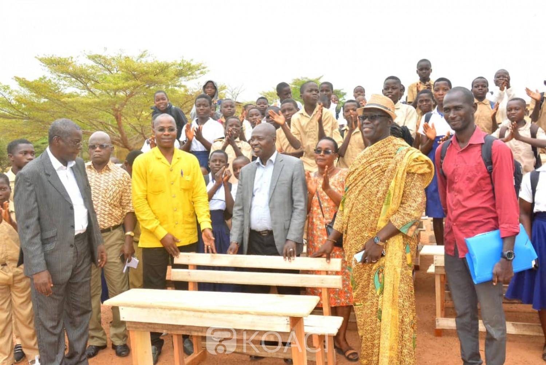 Côte d'Ivoire : Diabo, sous la tutelle du conseil régional, le Lycée équipé en table-bancs par le DG du trésor représenté par le maire Koumoin