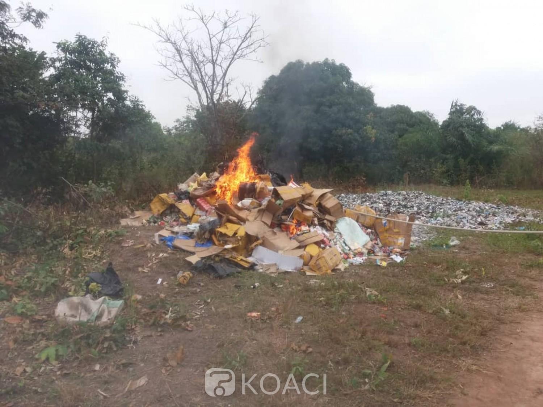 Côte d'Ivoire : Bouaké, d'une valeur de 200 millions, 3,600 tonnes de produits illicites incinérés