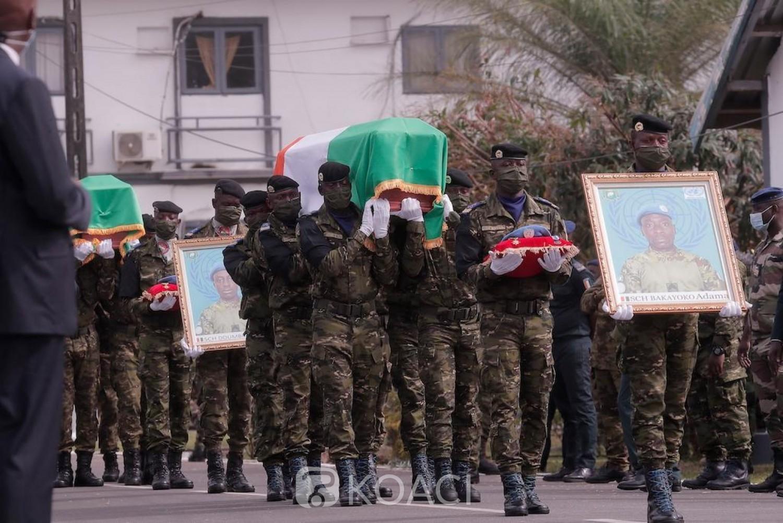 Côte d'Ivoire :  La nation rend un dernier hommage aux quatre soldats morts au Mali et les élève à titre posthume chevalier de l'ordre national