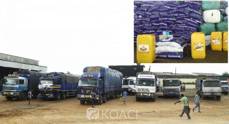 Côte d'Ivoire :   Axe Abidjan-Aboisso, 14 camions contenant de l'huile, du lait et autres marchandises non déclarés saisis par les douanes
