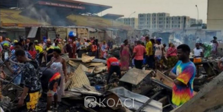 Côte d'Ivoire : Port Bouët, le marché annexe  part en fumée, le gardien des lieux touché par les flammes