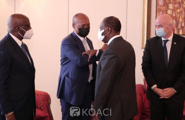 Côte d'Ivoire :  Gianni et Motsepe chez Ouattara annoncent le lancement d'un tournoi interscolaire panafricain et invitent les candidats à la présidence de la FIF à l'union
