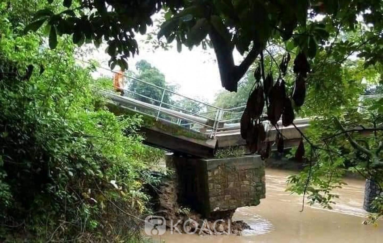 Côte d'Ivoire : La pluie fait plier le pont reliant le Sud-Comoé à l'Indénié Djuablin