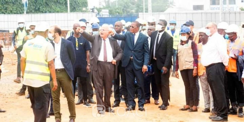 Côte d'Ivoire : Bruno Koné sur le chantier de la construction de la Tour F satisfait de l'avancée des travaux