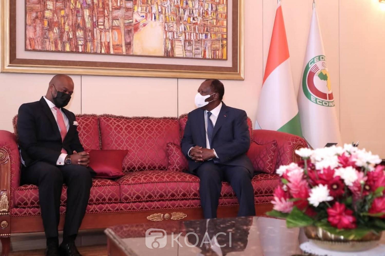 Côte d'Ivoire : Mise en place de la ZLECAF, Méné Wamkelé fait le point à Alassane Ouattara et annonce la ratification de 40 pays sur les 55 Etats de l'Union africaine