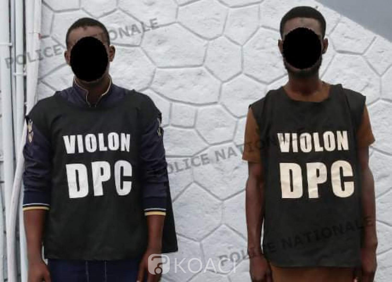 Côte d'Ivoire : Marcory, après 02 mois de cavale, les 02 auteurs présumés de vol à main armée de la somme de 39.500.000 FCFA, interpellés