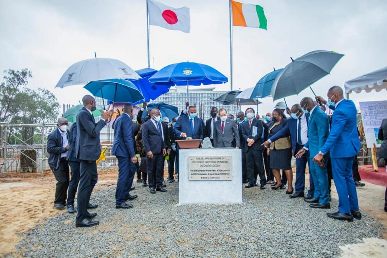 Côte d'Ivoire : Pose de la première pierre du pôle gynéco-obstétrique et pédiatrique du CHU  de Cocody, le coût estimé à 26 milliards de FCFA