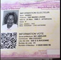 Côte d'Ivoire : La carte d'électeur de feue Marie Louise Asseu qu...