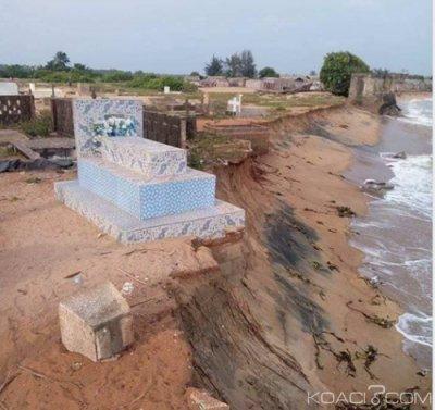 Côte d'Ivoire : Grand-Lahou, plusieurs  tombes emportées par la mer en moins de cinq jours, une grave inondation est à craindre