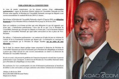 Côte d'Ivoire : Soro convoque une session extraordinaire,  un juriste recadre le député Patrice Kouassi