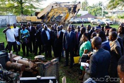 Côte d'Ivoire : Orpaillage clandestin, plusieurs engins saisis présentés au ministre Jean Claude Kouassi