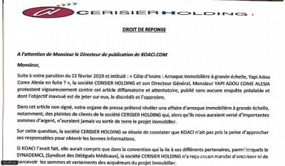 Côte d'Ivoire : Affaire Cerisier Holding-Synademci, le droit de réponse qui accable le syndicat