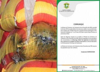 Côte d'Ivoire : Riz avarié, début de l'opération de destruction le mardi 16 avril prochain