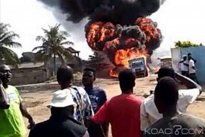 Benin-Togo : Un camion d'essence parti en fumée à Hillacondji