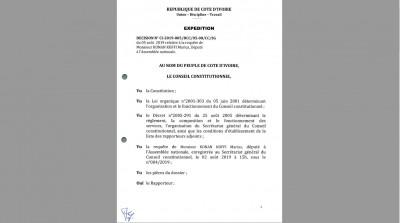 Côte d'Ivoire: Requête sur la loi de recomposition de la CEI, décision du Conseil Constitutionnel