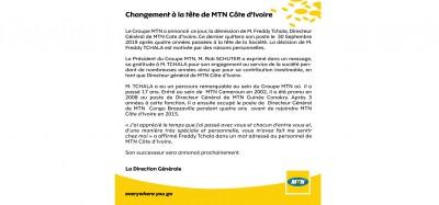 Côte d'Ivoire: Démission pour des «raisons personnelles» de Freddy Tchala, communiqué de MTN