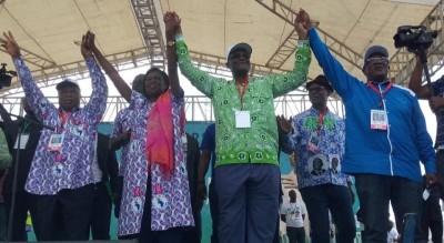 Côte d'Ivoire: Meeting PDCI-FPI, Simone, Guikahué,Assoa Adou et Guikahué main dans la main pour prôner la réconciliation, une fine pluie qui n'altère pas la détermination des militants