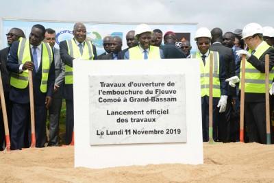 Côte d'Ivoire: A Bassam, lancement des travaux de l'ouverture de l'embouchure du fleu...